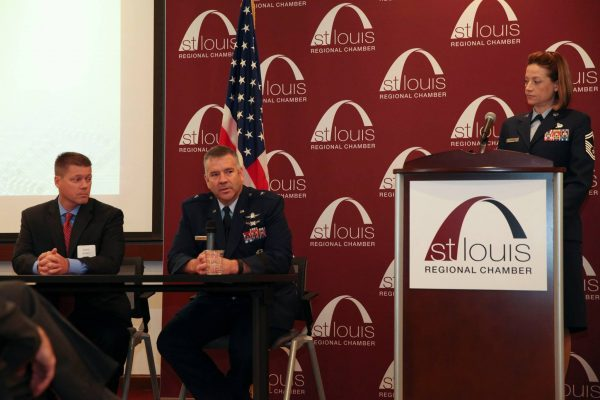 General Mitchel Butikofer, Craig Byrkit from Edwards Jones and Chief Slazinik speaking at Midwest Cyber Center breakfast at the St. Louis Regional Chamber.