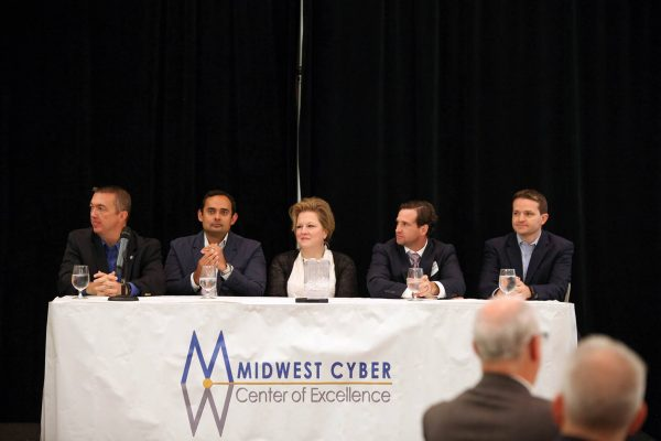 BioSTL, T-REX, ITEN, SixThirty CYBER and Security Advisor Alliance on a panel at the Midwest Cyber Center breakfast.